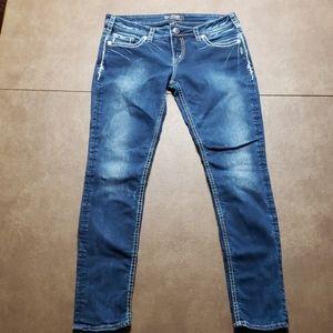 Silver Aiko Flap Skinny Jeans, W30/L31